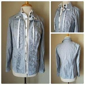 Tribal Blue Striped Ruched Casual Jacket 4